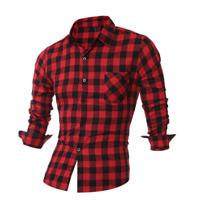 Fashion Men's Long Sleeve Shirts Casual Check Print Cotton Work Plaid Shirt Top