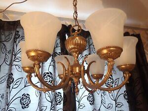 Gilt Brass Chandelier 6 Arm branch ceiling light EMPIRE STYLE 7.5 kg !!