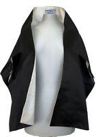 PRADA BLACK/CREAM REVERSIBLE SILK SHAWL JACKET, O/S, $995