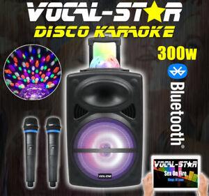 VOCAL-STAR KARAOKE MACHINE INC DISCO LIGHTS BLUETOOTH 2 WIRELESS MICROPHONES PPA
