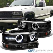 Fit 99-02 Silverado 00-06 Tahoe Suburban Black Halo Projector Headlights+Bumper