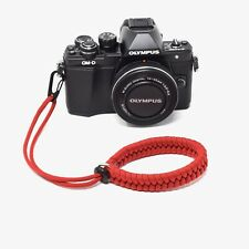 """""""Cordy Crossover QR"""" Red Paracord Camera Wrist Strap - Handmade by Cordweaver"""