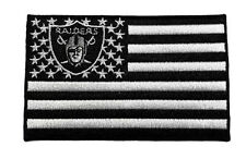"🔥 4"" OAKLAND RAIDERS Raider Nation 'American Flag' Banner Iron-on JERSEY PATCH!"