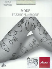 edle Strumpfhose, Ornamentmuster, transparent - 20den, creme, 38-40  *olsen*