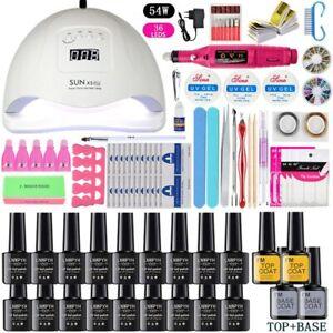 UV LED Lamp Dryer 18/12 pcs Nail Gel Polish Kit Soak Off Manicure electric drill