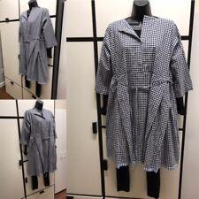 Veritecoeur Japan OS Linen Midnight Gingham Check Side Pleated Dress Tunic