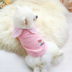 Soft Pet Dog Sweater Warm Dog Pajamas Cute Winter Cat Puppy Sweatshirt Pink XS