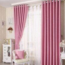 Kids Room Solution - 2 x Blockout Eyelet Curtains 180cm x 230cm (Drop) Pink Star