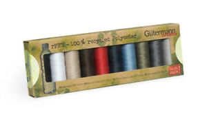 100% Recycled Sew-All Polyester rPET Gutermann 10 Spool Thread Set:Basic 731138