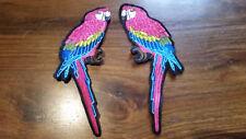 Patch Papageien Pärchen bunt Vogel Ara Federn Aufnäher zum Aufnähen