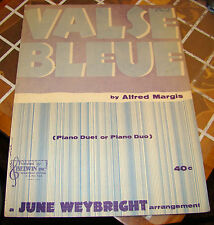 Valse Bleue: Easy Piano Duet or Duo by Alfred Margis Arr. by June Weybright 1958
