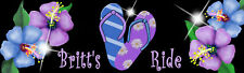 "Flip Flops Sandals Hibiscus Flowers Decal Bumper Sticker 3"" x 10"" Personalize"