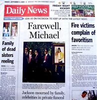 Michael Jackson Newspaper LA Daily News Farewell 2009 Tribute Thriller Pop King
