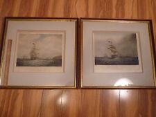 Vintage Outward Bound and Homeward Bound S. Walters Framed Lithographs