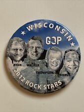 """2012 Republican National Convention Wisconsin GOP 3.5"""" Pin Ryan Walker Thompson"""