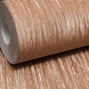 Rasch Trianon Metallic Gold Copper Lines Shimmer Textured Wallpaper 515503