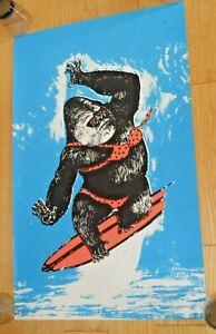 Black Light VINTAGE POSTER GORILLA SURFING POLKA DOT BIKINI 1960s