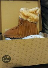 Womens Lamo Leather Boots sz 9 Brown Genuine Suede Fringe Fur Ankle Boots * NEW