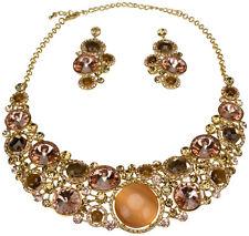 Schmuckset Collier Hochzeit Kette Ohrringe Strass Glitzer Crystal Rosé jewelery