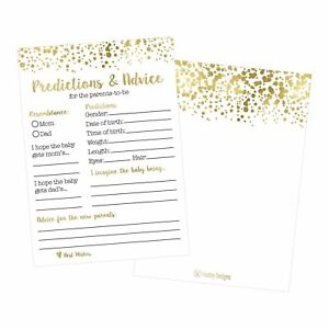 50 Gold Polka Dot Advice and Prediction Cards for Baby Shower Game, New Mom &...