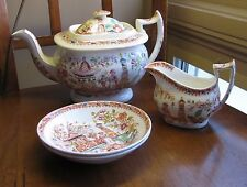 19C Antique English Staffordshire Chinoiserie Polychrome Teapot Thomas Drewry