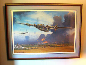 "AVIATION ART: ""INTO THE FIRE & FURY"" GEN JOHNSON SIGNED CUSTOM FRAMED & MATTED"
