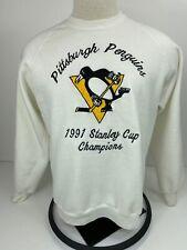 Vintage Jerzees Sweatshirt Pittsburgh Penguins 1991 Champions Size XXL White
