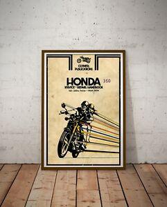 "Vintage 1964-74 HONDA Motorcycle Handbook POSTER! (Up to full-size 24"" x 36"")"