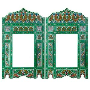 Set of 2 Painted Green hanging mirror frame, Moroccan Vintage farmhouse decor