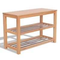 """26"""" Wooden Shoe Boot Storage Organizer Rack Shelf Front Door Bench Chair Seat"""