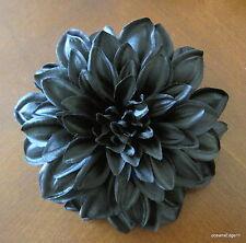 "4.5"" Jet Black Poly Silk Dahlia Flower Hair Clip,Pin Up,Updo,Goth"
