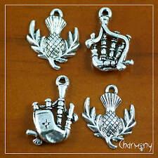 Scottish charms ~SET of 4~thistle bagpipes Tibetan silver Scotland pendant bead