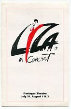 """LIZA MINNELLI Promo Brochure: """"Liza In Concert"""" [Pantages Theatre, Hollywood]"""