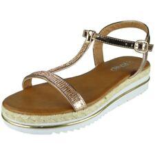 Womens Diamante T-Bar Wedges Ladies Espadrilles Shiny Flats Low Heel Shoes Size