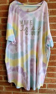 NWT Make Today Count Tie-Dye Nightgown Sleepshirt Sz 2X - 3X 20-24W  Pockets