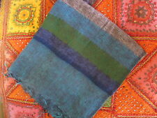Warm soft large striped GREEN BLUES BROWN  shawl wrap from India. .