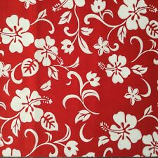 "5pcs 18""X30"" Red white Hawaii Flower Cotton Fabric Patchwork Quilting Cloths F18"