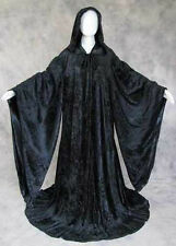 BLACK Velvet Volturi Robe Cloak Wicca Star Wars Wizard Game of Thrones GOT Goth