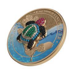Germania 2019 5 Mark Oak Leaf - Bejeweled Tortoise - 1 Oz Silver Coin