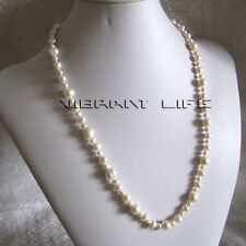 """24"""" 4-10mm White Freshwater Pearl Necklace Strand Jewelry AC"""