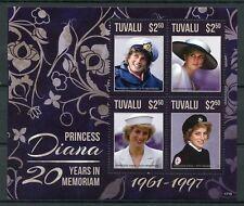 Tuvalu 2017 MNH Princess Diana 20th Memorial Anniv 4v M/S II Royalty Stamps