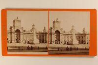 Italia Napoli Place Monumento Dante c1875 Foto Brogi Stereo Vintage Albumina