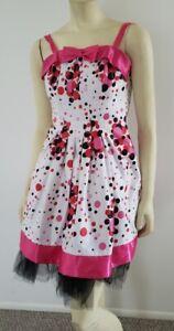 pink satin bubble print dress XS Gunne Sax Jessica McClintock