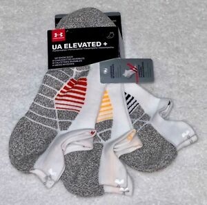 UNDER ARMOUR Elevated +3 Pack White Grey No Show Tab Socks NEW Mens M 4-8 L 8-12