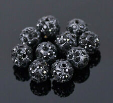 Set of 6 Paved Glass Crystal Rhinestone Disco Ball Beads 10mm Black