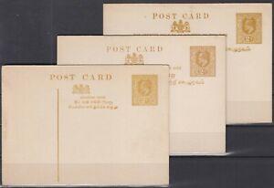 FD11061/ BRITISH CEYLON – POSTAL STATIONERY – H&G # 38 – 40 - 45 MINT MNH