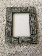 Ceramic Photo Picture Frame for 5x7 Photo, black and tan geometric design
