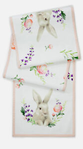 """Easter Bunny Rabbit Floral 14""""x70"""" Cotton Table Runner Pink Ivory NWT"""