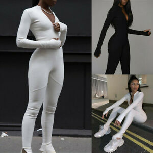 Womens Long Sleeve Zipper Jumpsuit Ladies Sport Yoga Gym Fitness Bodysuits Pants