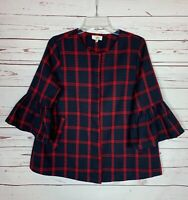 Entro Boutique Women's Size S Small Navy Red Plaid Zipper Pocket Cute Jacket